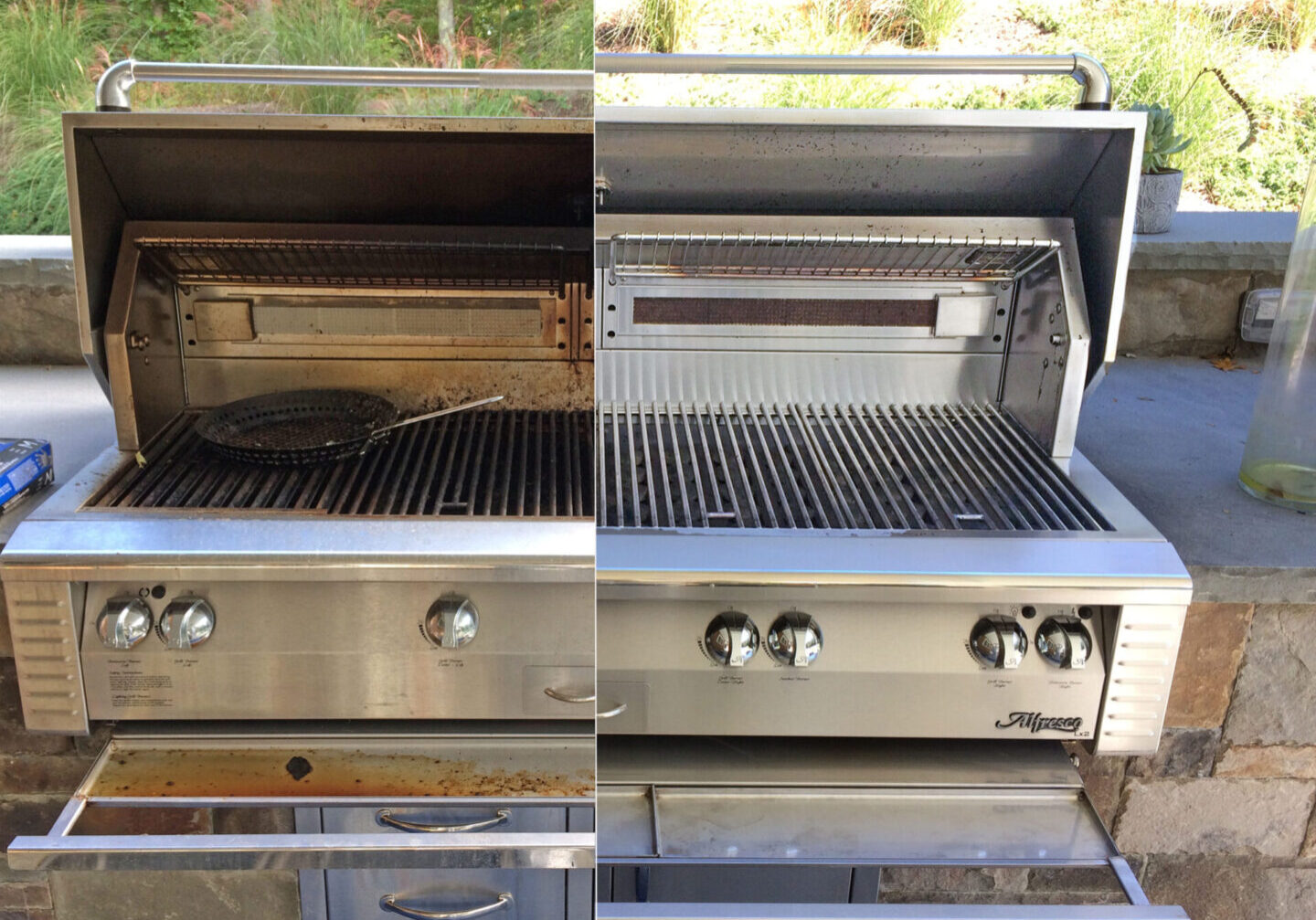 Alfresco grill Before and after bbq cleaning